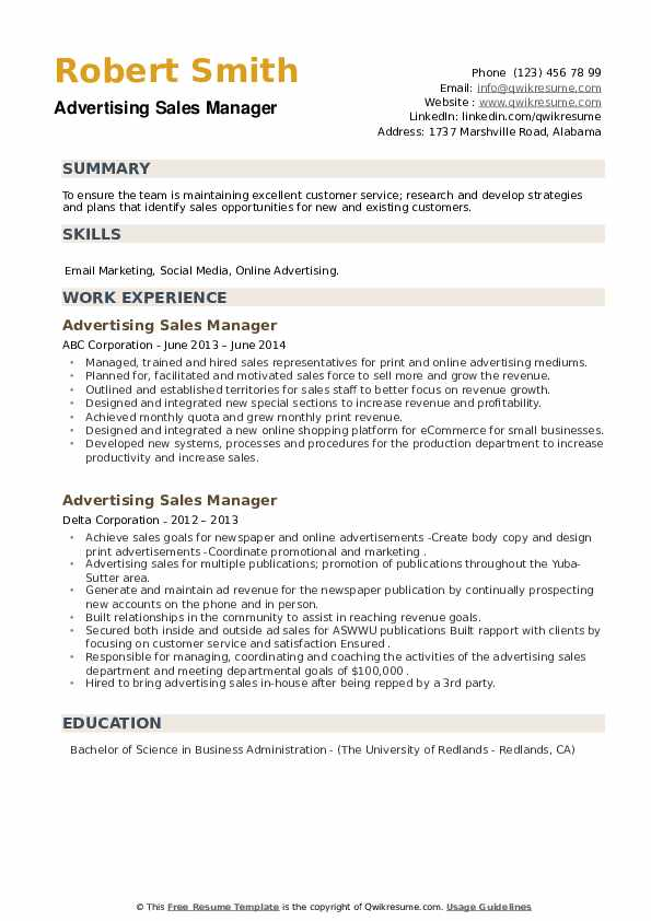 Advertising Sales Manager Resume example