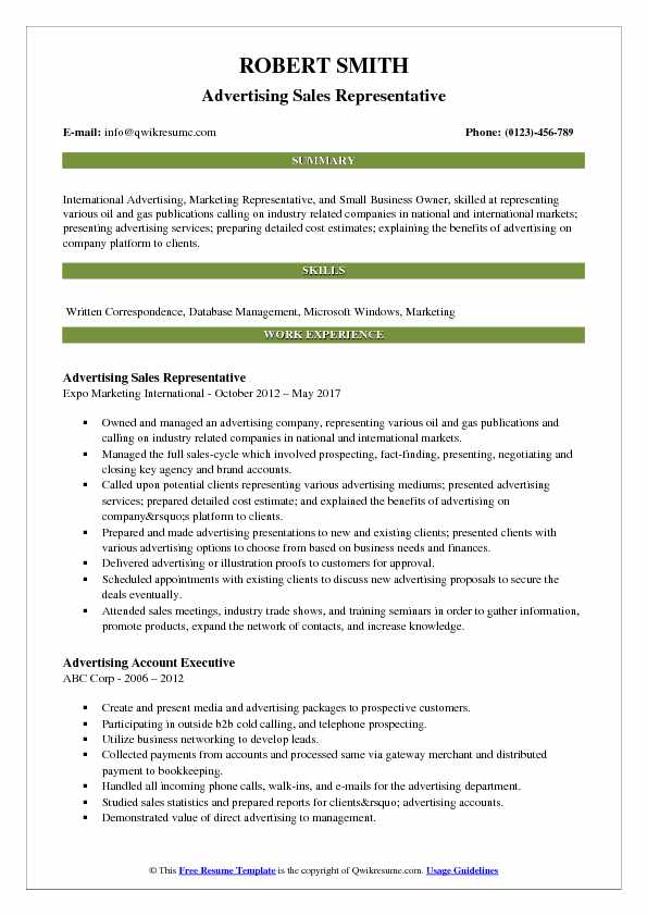 Advertising Sales Representative Resume Example
