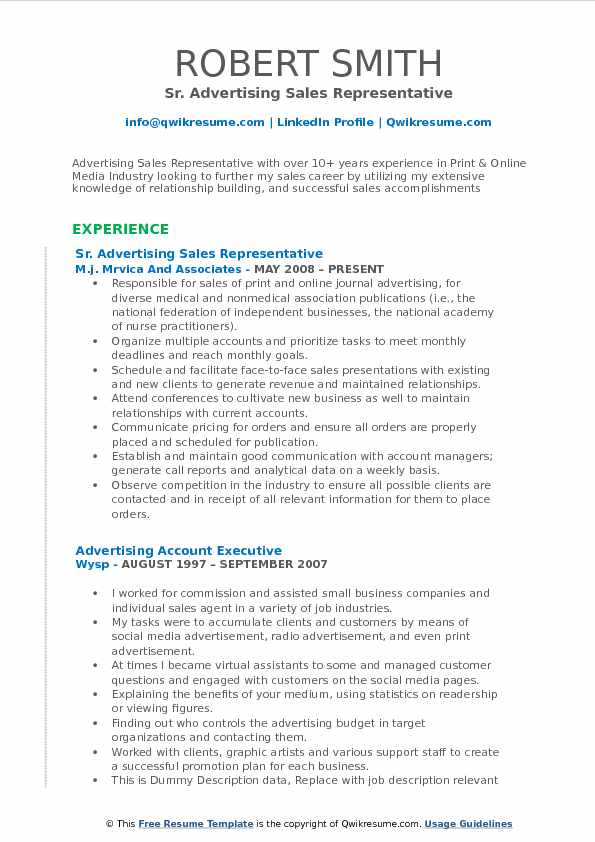 advertising sales representative resume samples