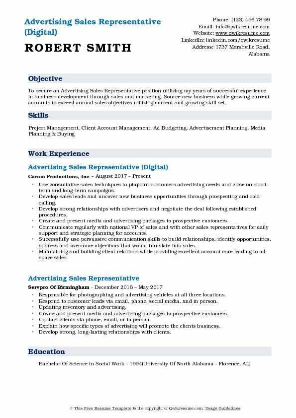 Advertising Sales Representative (Digital) Resume Sample