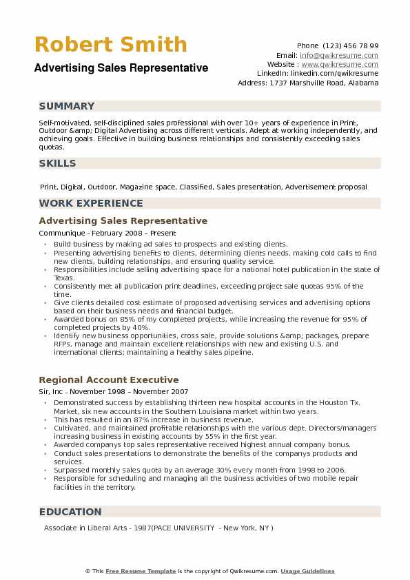 Advertising Sales Representative Resume Example
