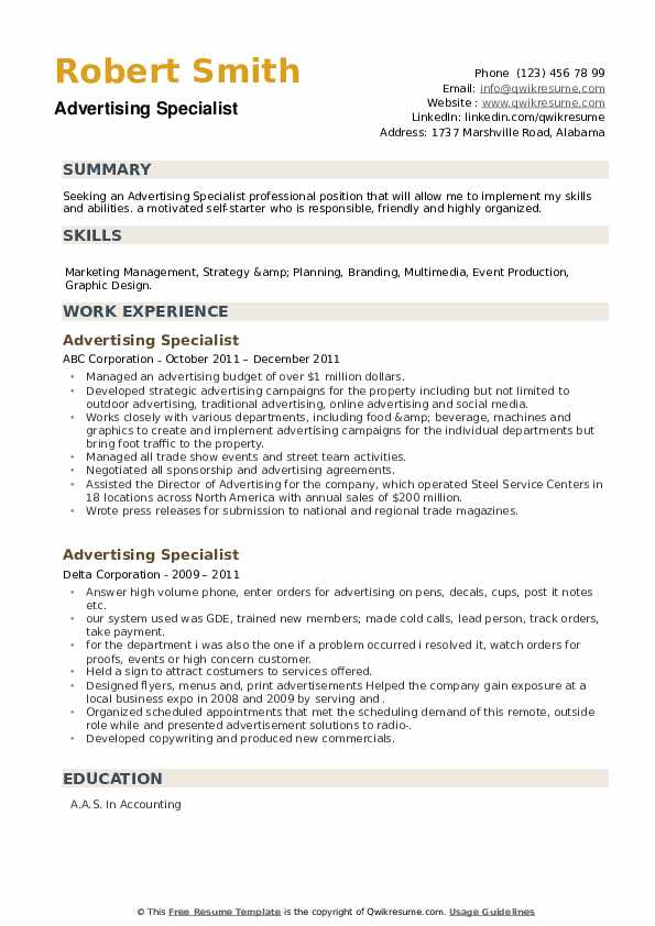 Advertising Specialist Resume example