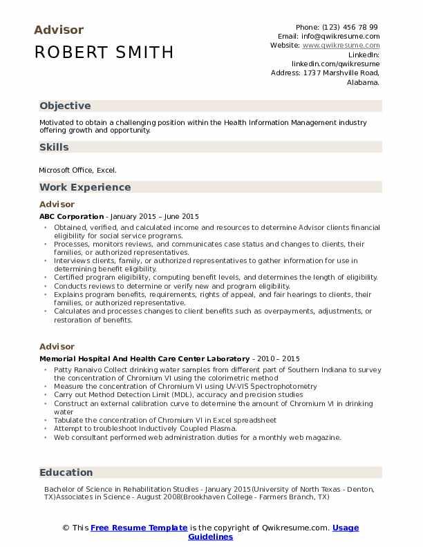 advisor resume samples