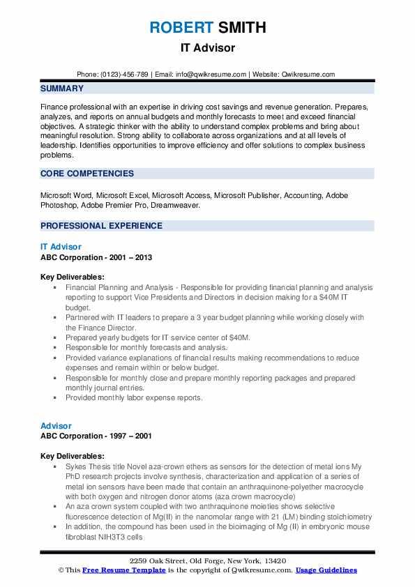 IT Advisor Resume Format