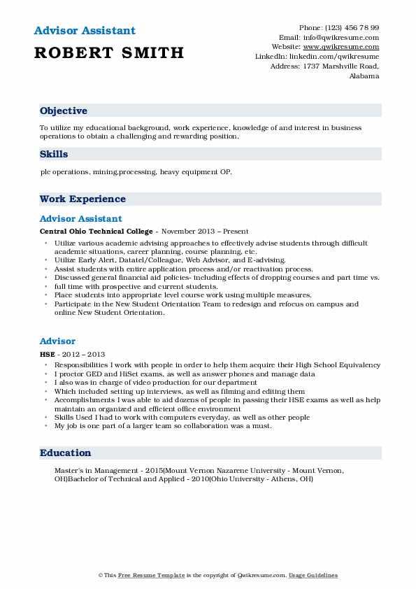 Advisor Assistant Resume Sample