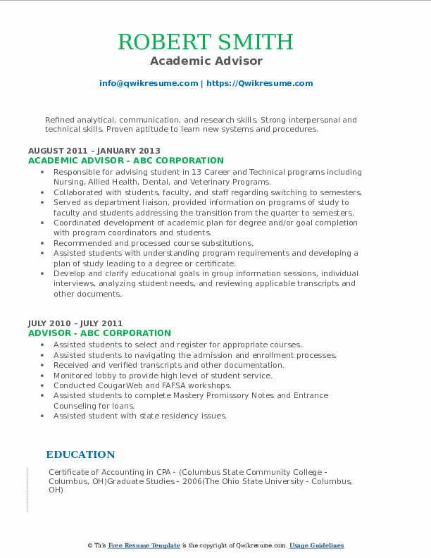 Academic Advisor Resume Model