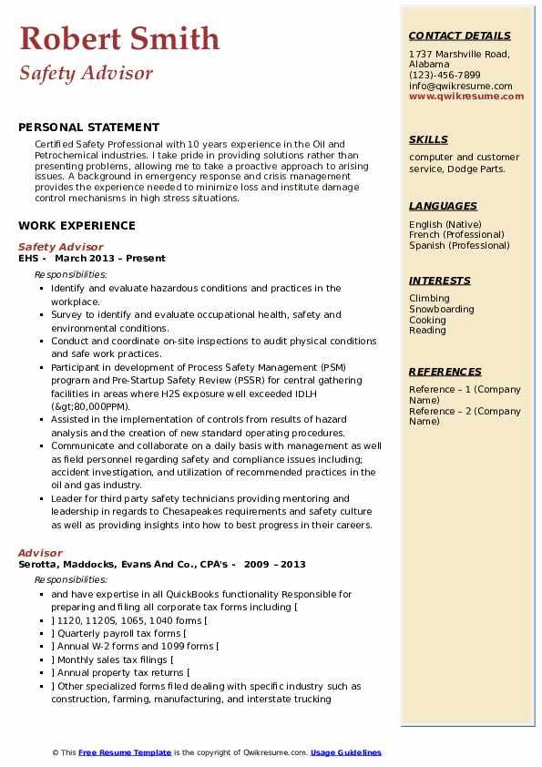 Safety Advisor Resume Sample