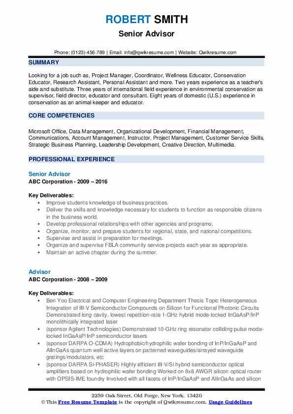Senior Advisor Resume Template