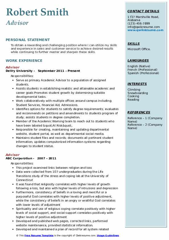 Advisor Resume example