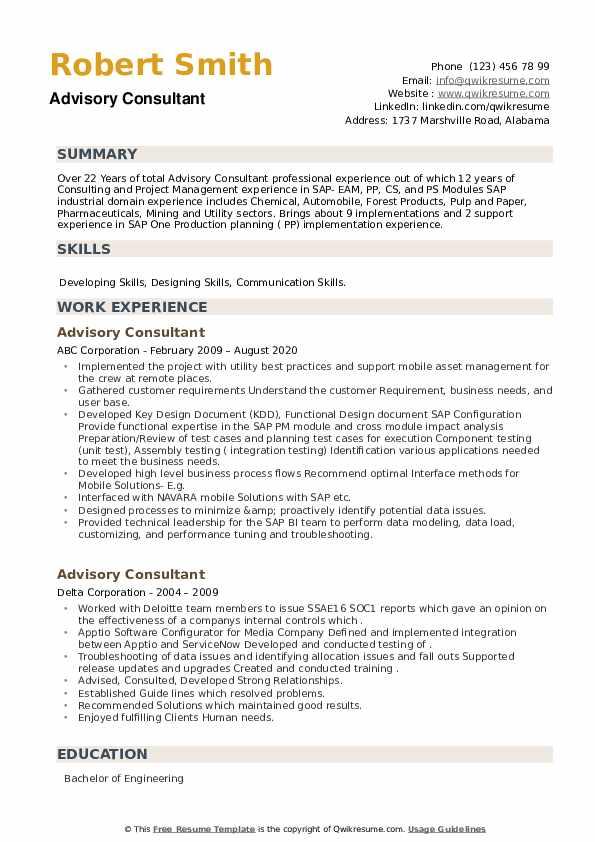 Advisory Consultant Resume example