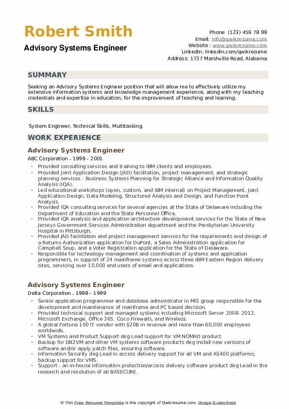 Advisory Systems Engineer Resume example