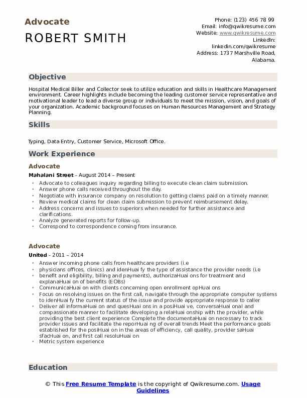 Advocate Resume Format
