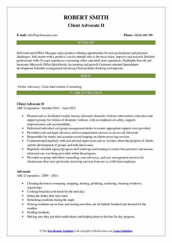 Client Advocate II Resume Example