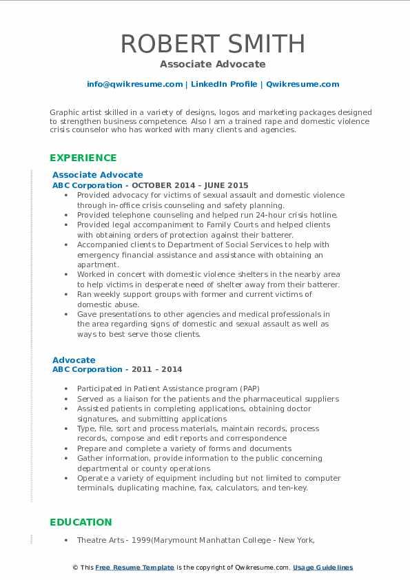 Associate Advocate Resume Template