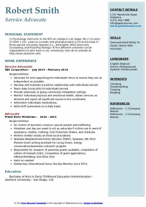 Service Advocate Resume Example