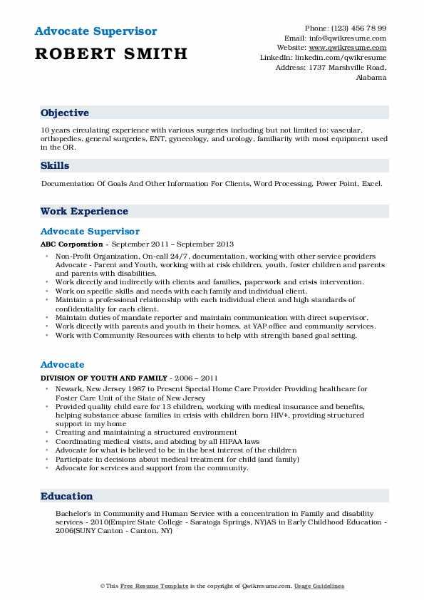 advocate resume samples