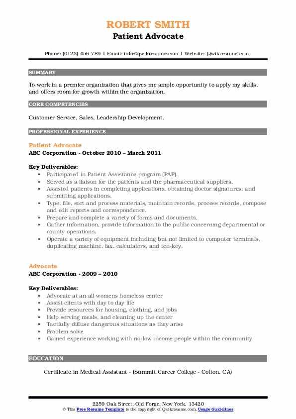 Patient Advocate Resume Model