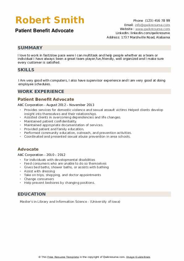 Patient Benefit Advocate Resume Sample
