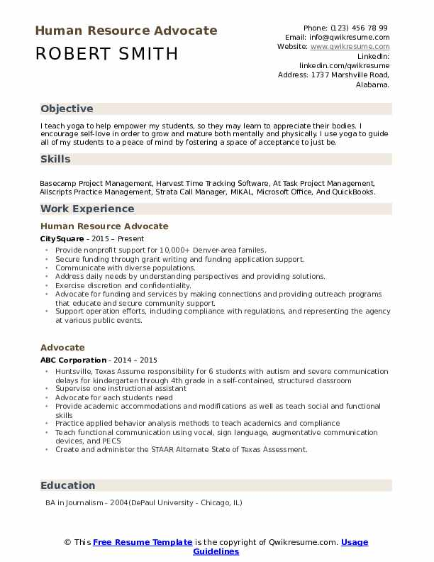 Human Resource Advocate Resume Template