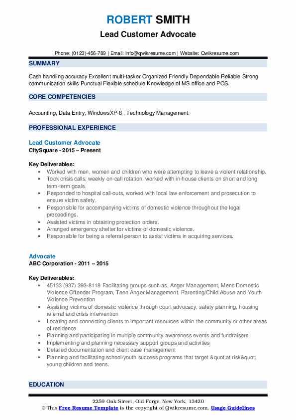 Lead Customer Advocate Resume Sample