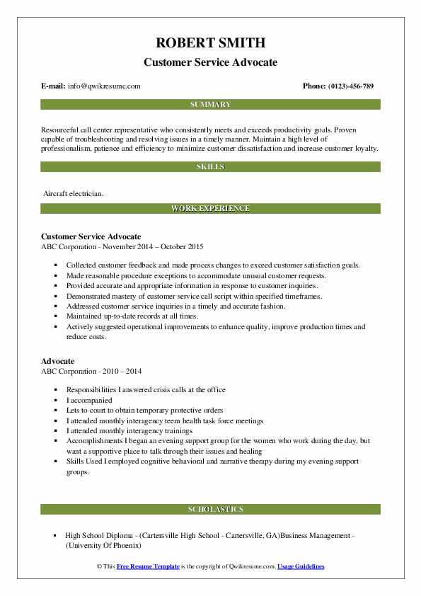 Customer Service Advocate Resume Format