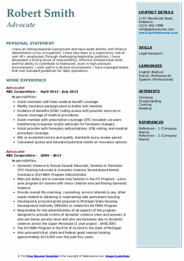 advocate resume samples
