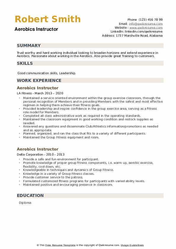 Aerobics Instructor Resume example