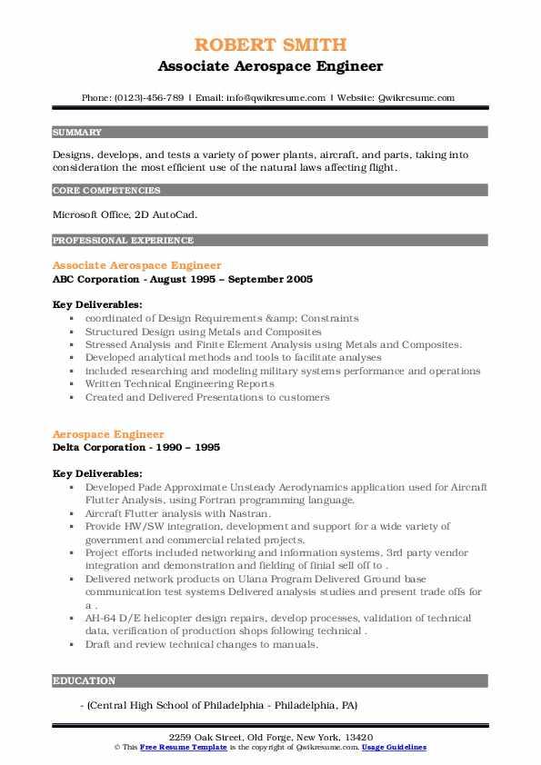 aerospace engineer resume samples  qwikresume