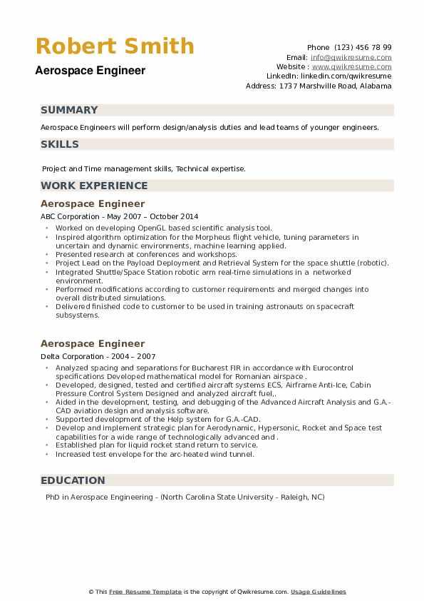 Aerospace Engineer Resume example