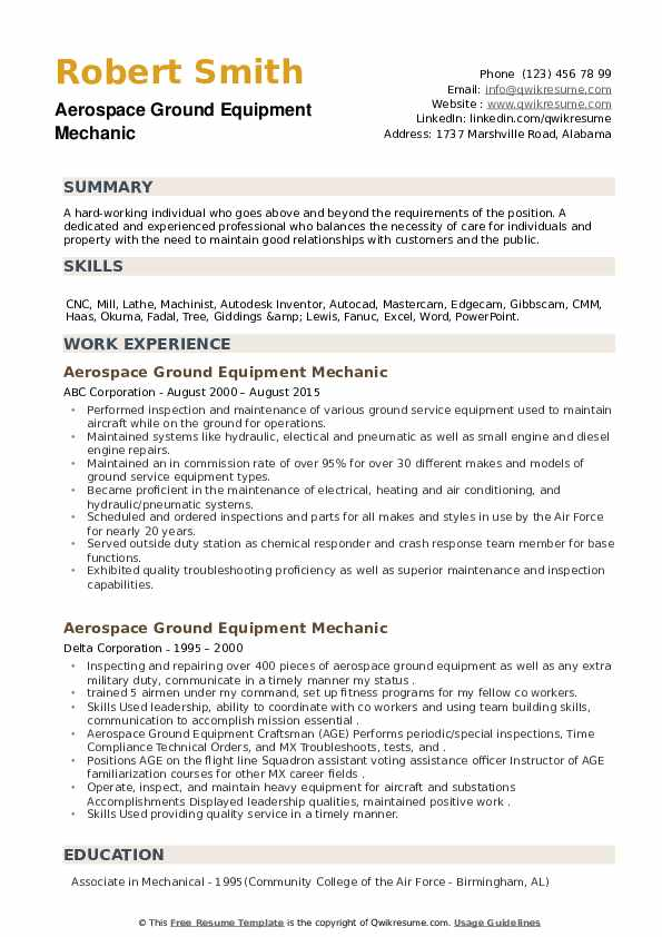 Aerospace Ground Equipment Mechanic Resume example