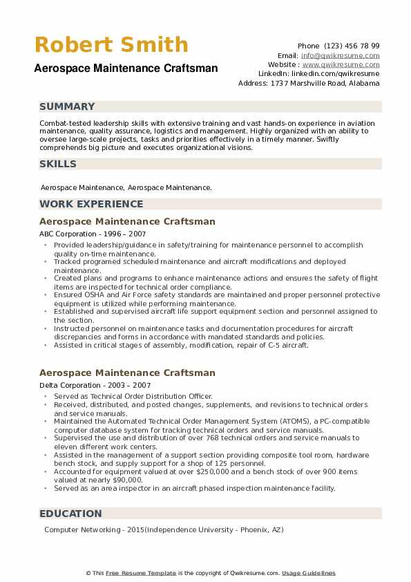 Aerospace Maintenance Craftsman Resume example