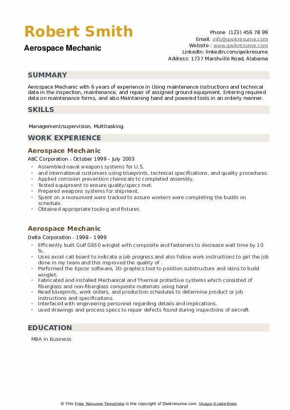 Aerospace Mechanic Resume example