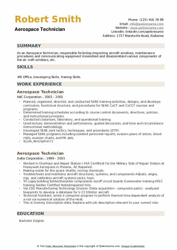 Aerospace Technician Resume example