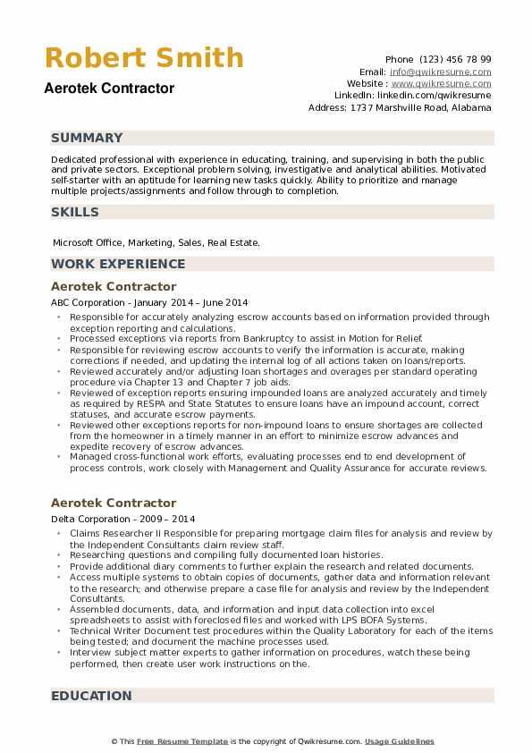 Aerotek Contractor Resume example
