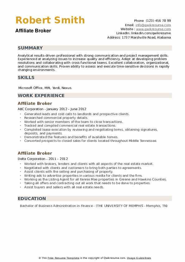 Affiliate Broker Resume example