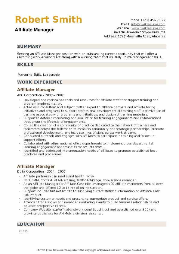 Affiliate Manager Resume example
