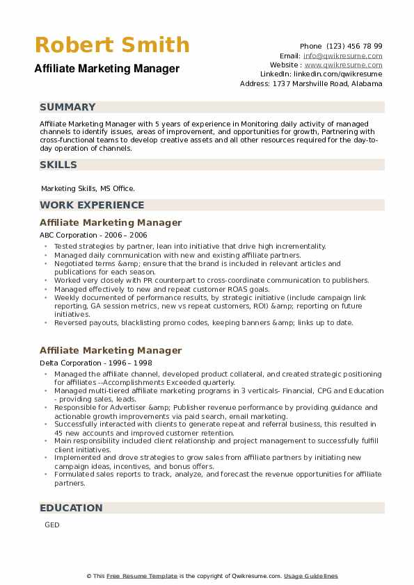 Affiliate Marketing Manager Resume example