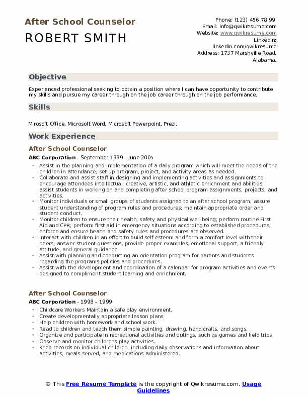 After School Counselor Resume Template