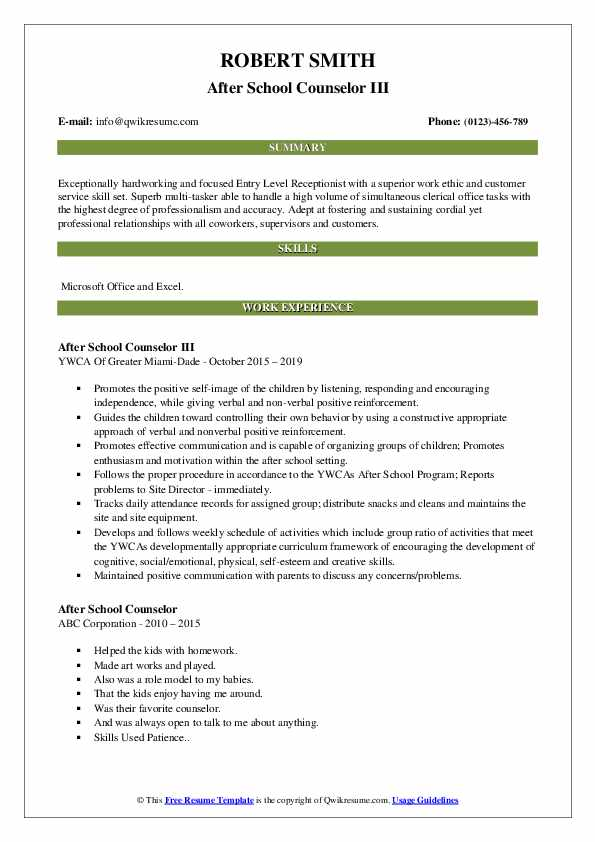 After School Counselor III Resume Format