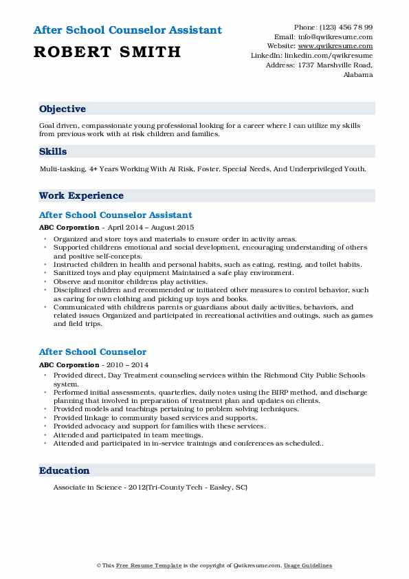 After School Counselor Assistant Resume Sample