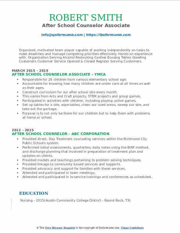 After School Counselor Associate Resume Sample