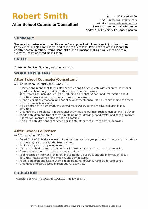After School Counselor/Consultant Resume Example
