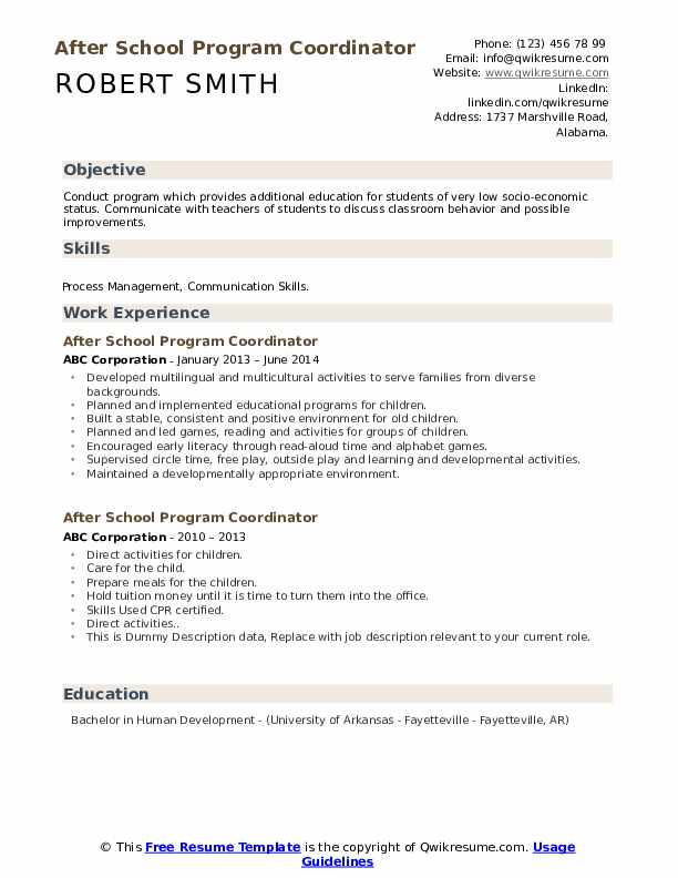 After School Program Coordinator Resume example