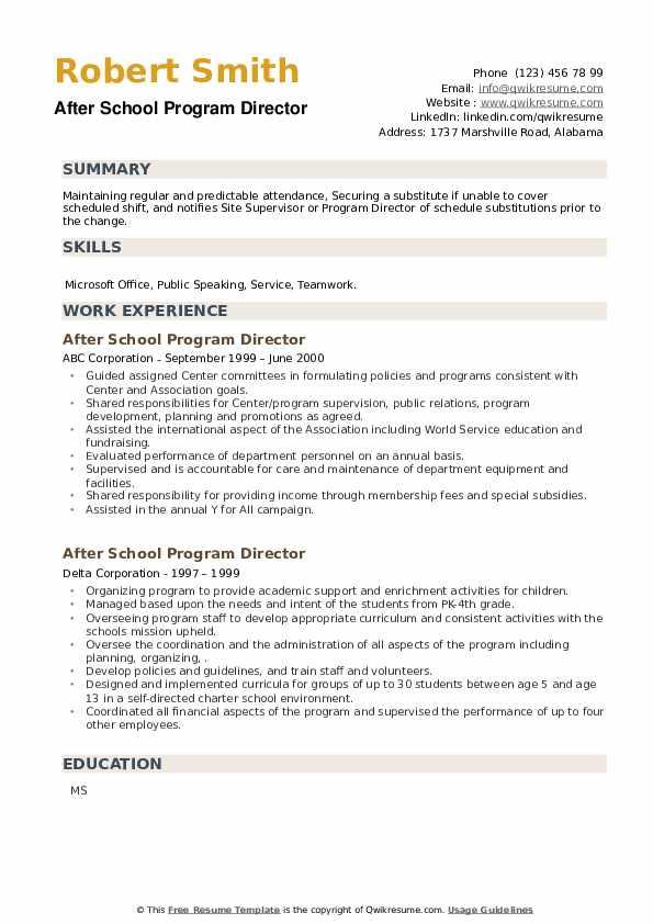 After School Program Director Resume example
