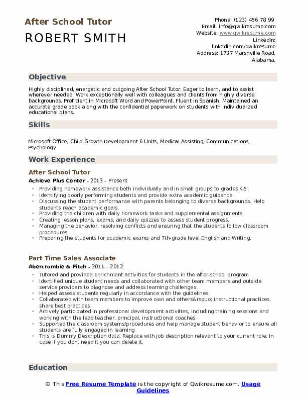 after school tutor resume samples
