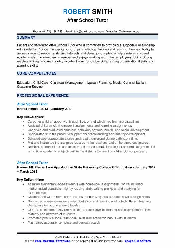 After School Tutor Resume Samples Qwikresume