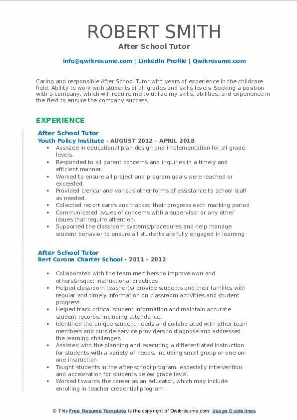 After School Tutor Resume Format