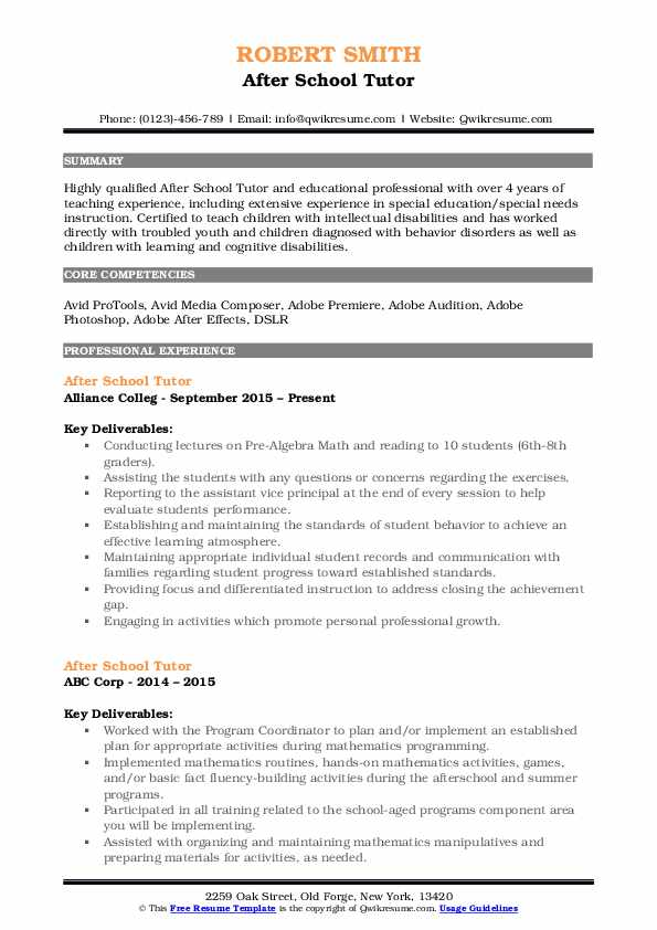 After School Tutor Resume Samples | QwikResume