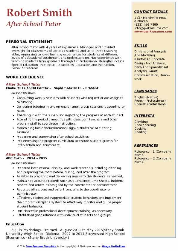 After School Tutor Resume Model