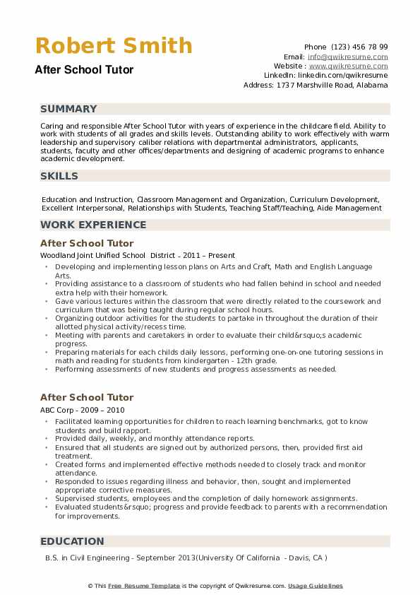 After School Tutor Resume Example